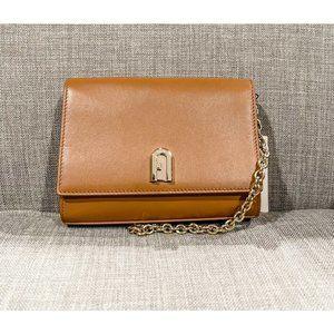 NWT Furla Cognac Leather Crossbody 1049294 B BACI